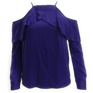 Bar III Womens Ruffled Cold Shoulder Casual Top